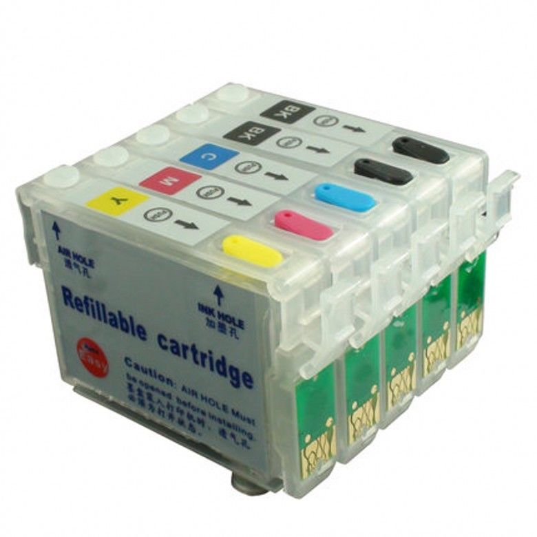 Empty refillable ink cartridge for Epson TX525FW printer with ARC